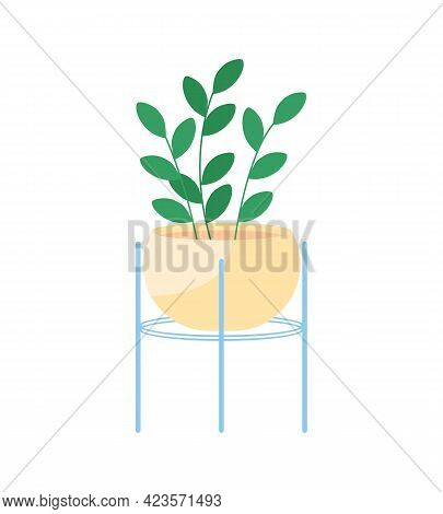 Indoor House Plant Semi Flat Color Vector Object. Home Gardening. Purifying Indoor Air Naturally. Li
