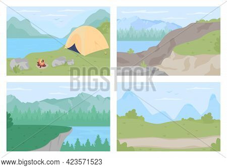 Countryside Vacation Flat Color Vector Illustration Set. Scenic Highlands For Hiking Trips. Trekking
