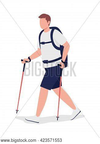 Man On Nordic Walk Semi Flat Color Vector Character. Trekker, Hiker Figure. Full Body Person On Whit