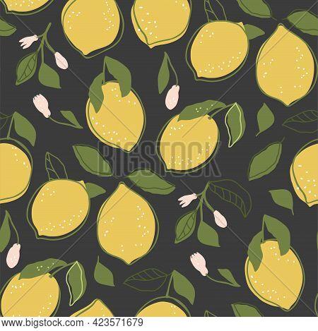 Cartoon Citrus Summer Lemon Fruit Seamless Pattern Background. Cute Sweet Food Fresh Nature Kids Wal