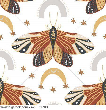 Boho Butterfly Seamless Pattern On A White Background. Summer Moth Wallpaper Illustration. Retro Vin