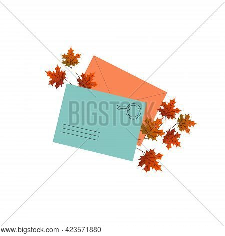 Mail Envelopes With A Branch Of Maple Leaves. Vector Illustration. For The Design Of Cards, Invitati