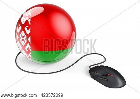 Computer Mouse With Belarusian Flag. Internet Network In Belarus Concept. 3d Rendering Isolated On W