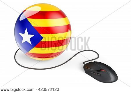 Computer Mouse With Catalan Flag. Internet Network In Catalonia Concept. 3d Rendering Isolated On Wh