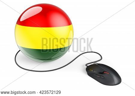 Computer Mouse With Bolivian Flag. Internet Network In Bolivia Concept. 3d Rendering Isolated On Whi