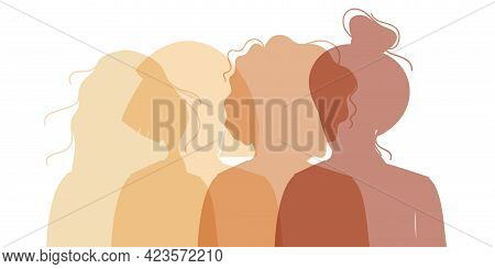 Women Silhouette Of Different Cultures And Nationalities Standing Together. The Concept Of The Femal