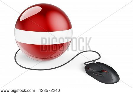 Computer Mouse With Latvian Flag. Internet Network In Latvia Concept. 3d Rendering Isolated On White