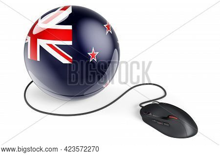 Computer Mouse With New Zealand Flag. Internet Network In New Zealand Concept. 3d Rendering Isolated