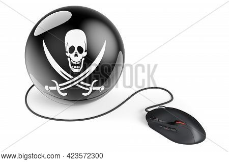 Computer Mouse With Piracy Flag, 3d Rendering Isolated On White Background