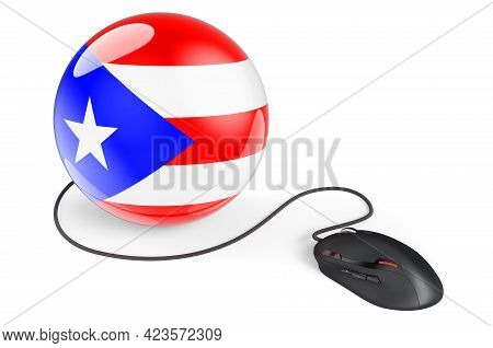 Computer Mouse With Puerto Rican Flag. Internet Network In Puerto Rico Concept. 3d Rendering Isolate