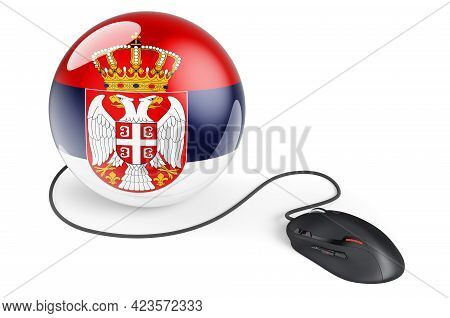 Computer Mouse With Serbian Flag. Internet Network In Serbia Concept. 3d Rendering Isolated On White