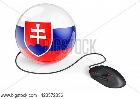 Computer Mouse With Slovak Flag. Internet Network In Slovakia Concept. 3d Rendering Isolated On Whit