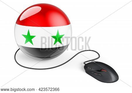 Computer Mouse With Syrian Flag. Internet Network In Syria Concept. 3d Rendering Isolated On White B
