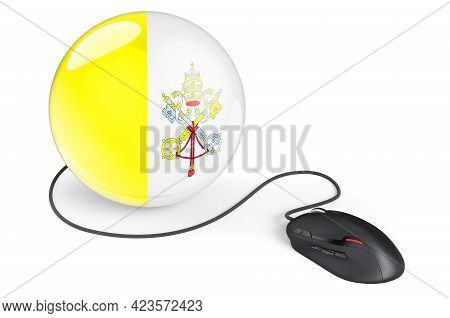 Computer Mouse With Vatican Flag. Internet Network In Vatican Concept. 3d Rendering Isolated On Whit