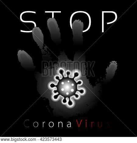 Coronavirus 2019-ncov. Corona Virus 3d Icon. Gray Hand Sign Isolated On Black Background. Pathogen R