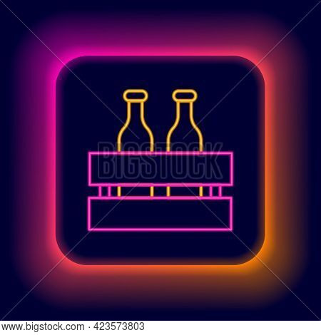 Glowing Neon Line Pack Of Beer Bottles Icon Isolated On Black Background. Wooden Box And Beer Bottle