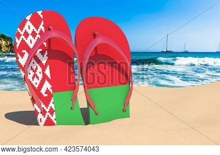 Flip Flops With Belarusian Flag On The Beach. Belarus Resorts, Vacation, Tours, Travel Packages Conc