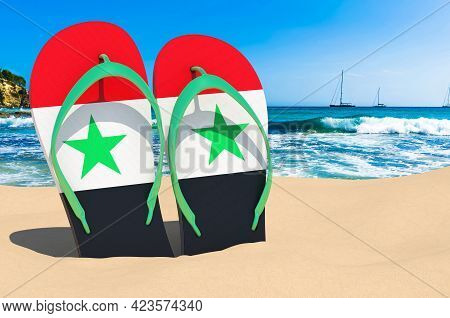 Flip Flops With Syrian Flag On The Beach. Syria Resorts, Vacation, Tours, Travel Packages Concept. 3