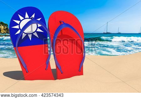Flip Flops With Taiwanese Flag On The Beach. Taiwan Resorts, Vacation, Tours, Travel Packages Concep