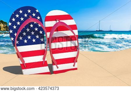 Flip Flops With The United States Flag On The Beach. The Usa Resorts, Vacation, Tours, Travel Packag