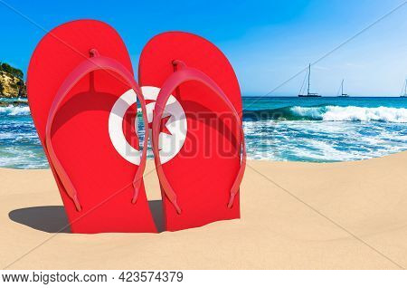 Flip Flops With Tunisian Flag On The Beach. Tunisia Resorts, Vacation, Tours, Travel Packages Concep