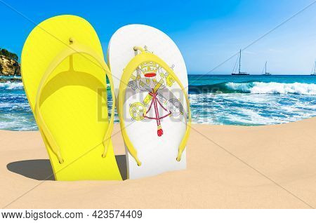 Flip Flops With Vatican Flag On The Beach. Vatican Resorts, Vacation, Tours, Travel Packages Concept