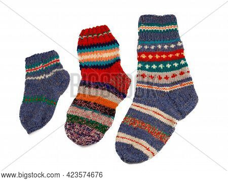 Knitted Socks Isolated On White Background. Warm Multi-colored Wool Sock. Set