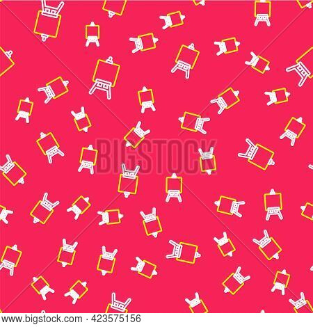 Line Wood Easel Or Painting Art Boards Icon Isolated Seamless Pattern On Red Background. Vector
