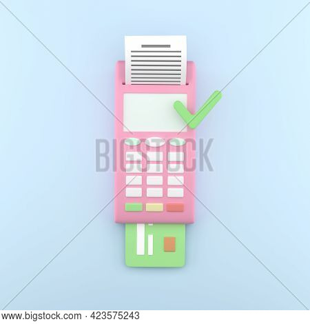 Payment Terminal, Cartoon Style. Pos Terminal On Blue Background With Check And Credit Card, Pink. A