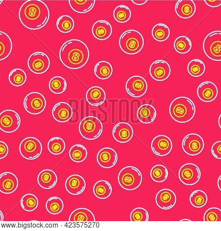 Line Billiard Pool Snooker Ball Icon Isolated Seamless Pattern On Red Background. Vector