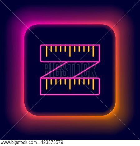 Glowing Neon Line Tape Measure Icon Isolated On Black Background. Measuring Tape. Colorful Outline C