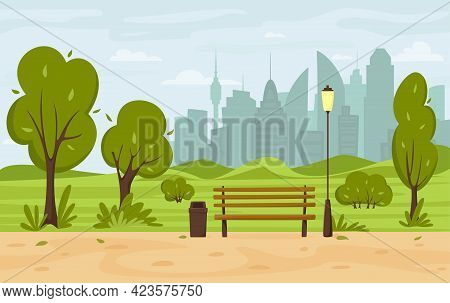 City Summer Park With Green Trees And Bushes, Park Bench, Walkway, Lantern And City Silhouette. Town
