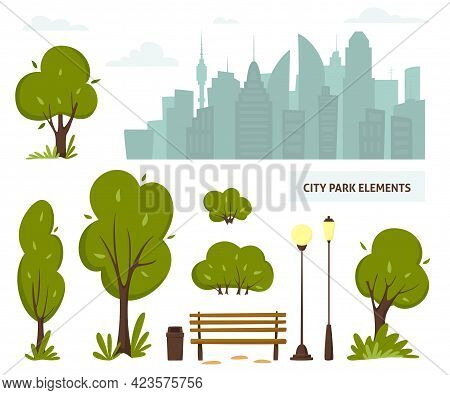 City Park Elements, Streets And Sidewalks. Urban Outdoor Decor: Bench, Lamps, Trash Box, Trees And B