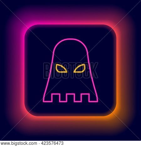 Glowing Neon Line Executioner Mask Icon Isolated On Black Background. Hangman, Torturer, Executor, T