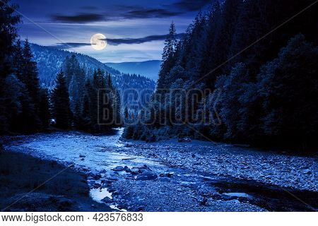 Mountain River Landscape In Summer. Wonderful Nature Scenery At Night. Clouds Rolling Over The Dista