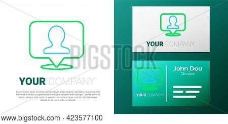 Line Map Marker With A Silhouette Of A Person Icon Isolated On White Background. Gps Location Symbol