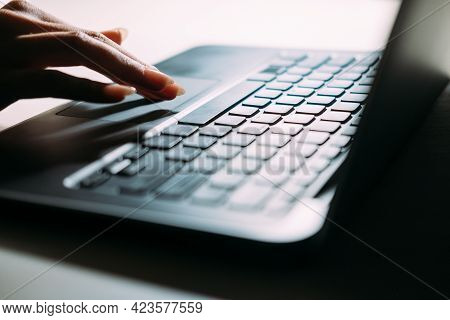 Virtual Searching. Internet Technology. Laptop Working. Digital Lifestyle. Unrecognizable Woman Scro
