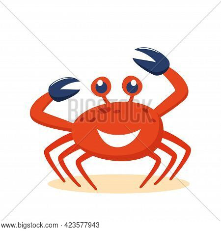 Cute Cartoon Red Crab Smiling Character. Funny Vector Illustration For Poster, Logo, Greeting Card,