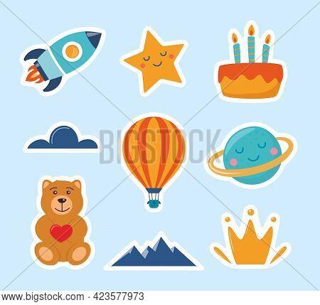 Cute Kids Stickers: Rocket, Star, Planet, Teddy Bear, Cloud, Cake, Aerostat. Cartoon Illustration Fo
