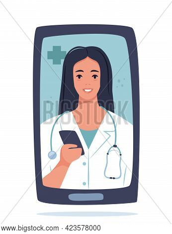Smiling Female Doctor Online On Phone Screen. Healthcare Concept. Doctor Videocalling. Online Medica