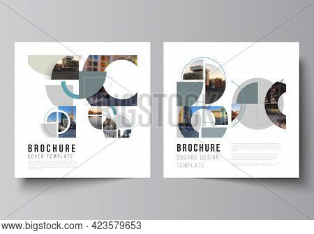 Vector Layout Of Two Square Covers Design Template For Brochure, Flyer, Magazine, Cover Design, Book