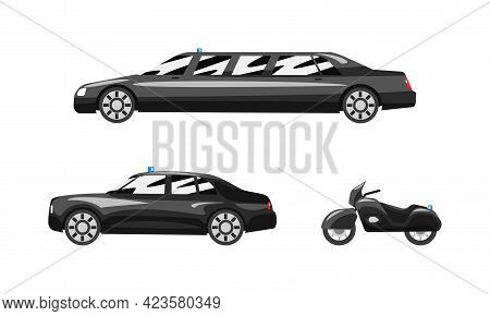 Set Of Black Cars Luxury Road Vehicles, Side View Of Sedan, Limousine, Motorcycle Flat Vector Illust