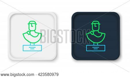 Line Ancient Bust Sculpture Icon Isolated On White Background. Colorful Outline Concept. Vector