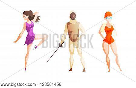 Professional Athletes Doing Sports Set, Girl Figure Skater, Swimmer, Man Fencer Cartoon Vector Illus