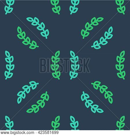Line Laurel Wreath Icon Isolated Seamless Pattern On Blue Background. Triumph Symbol. Vector