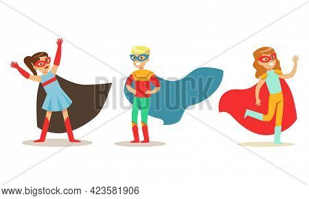 Set Of Happy Boys And Girls In Superhero Costumes, Super Kids Dressed Capes And Masks Having Fun At