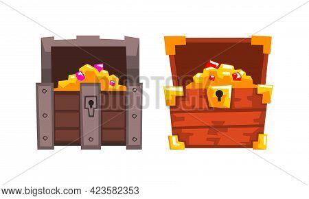 Treasure Wooden Brown Chests Set, Opened Old Pirate Dower Chest With Gold Cartoon Vector Illustratio
