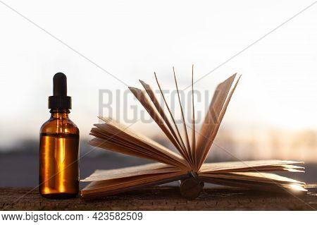 Blank Recipe Book For Medicine Preparation And Plans Top. Herbal Medicine Concept.