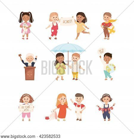 Kind And Fair Little Children Doing Justice And Engaged In Honest Behavior Vector Set