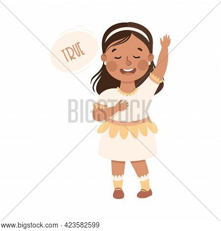 Kind And Fair Little Girl With Hand On Heart Telling Truth Vector Illustration